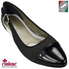 Rieker női bőr cipő 58062-00 fekete kombi