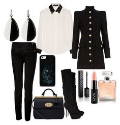 Untitled #2086 by natalyasidunova on Polyvore featuring Karl Lagerfeld, Balmain, 7 For All Mankind, Sergio Rossi, Mulberry, NEST Jewelry, Gucci, NYX and Chanel