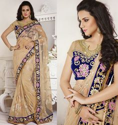 Fabulous Beige Embroidered Saree