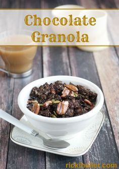 Gluten-free, sugar-free chocolate granola recipe on rickiheller.com