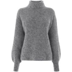 Warehouse Bell Sleeve Mohair Jumper (€64) ❤ liked on Polyvore featuring tops, sweaters, dark grey, mohair jumper, bell sleeve sweater, flared sleeve top, jumper top and bell sleeve tops