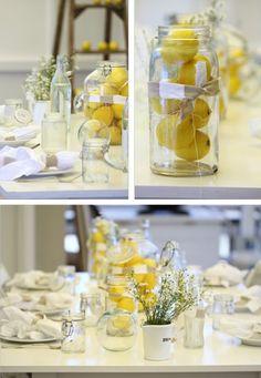 Limon ve kavanoz sonuç şık bir masa aksesuarı