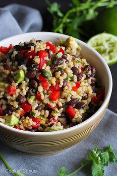 Brown Rice & Beans Salad Recipe with Chili Hot Sauce Dressing   cookincanuck.com #vegetarian #vegan #CincodeMayo