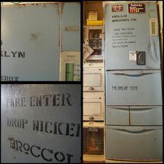 reenaさんの、めざせN.Yブロッコリん♡,めざせN.Yブルックリン,kousuiちゃん♡,ステンシル,ペイント,冷蔵庫,キッチン,のお部屋写真