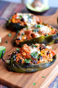 Mexican Stuffed Peppers – Roasted poblanos stuffed with chorizo, rice, beans, corn, and cheese! So delicious! Mexican Stuffed Peppers, Stuffed Poblano Peppers, Mexican Dishes, Mexican Food Recipes, Dinner Recipes, Recipes With Chorizo, Cocktail Recipes, Dessert Recipes, Stuffed Poblanos