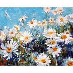 Paint By Number Kit Marguerite Daisy Flowers Adults Kids Creative Hobby Brush, Canvas, Creative Wall Art Home Decor DIY Gift Craft Simple Oil Painting, Diy Painting, Painting Trees, Painting Flowers, Painting Lessons, Daisy Field, Field Of Daisies, Paint By Number Kits, Art Pictures