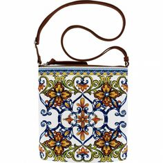 talian Majolica tiles are gorgeously reimagined in more than embroidered stitches on this fine leather pouch. Large enough to fit an iPad mini and small enough to be worn crossbody. Brighton Handbags, Leather Pouch, Lucca, Ipad Mini, Coin Purse, Bling, Purses, Baggage, My Style