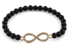 Black with Gold Iced Out Infinity Beaded Stretch Bracelet JOTW. $1.95. 100% Satisfaction Guaranteed!. The infinity charm measures 1 inches from left to right and 0.35 inches from top to bottom.. Great Quality Jewelry!