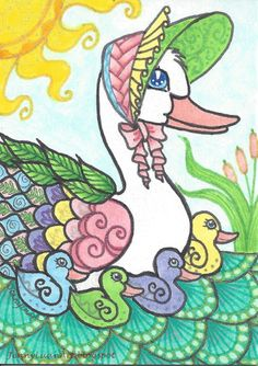 Original ACEO zentangel duck NFAC enchanted colorful ducks swimming in pond  #Miniature