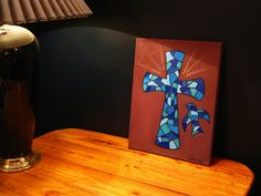 Cross oil painting on canvas blue stained glass mosaic cross dove Christian painting 11x14 signed varnished church decoration wall art. $45.00, via Etsy.