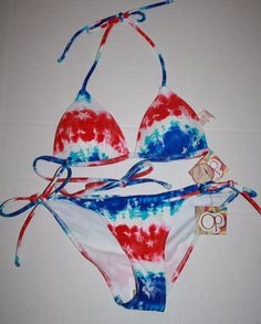 OP Juniors SMALL 3-5 Red White Blue 4th of July String Bikini Push Up Swimsuit #Op #Bikini #4thofJuly
