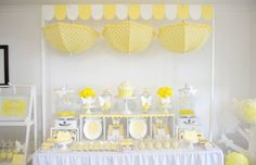 Baby Birthday yellow | yellow and white baby shower