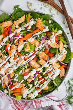 BBQ Chicken Salad with Cilantro Lime Ranch - Cooking Classy Meat Sauce Recipes, Salad Recipes, Chicken Recipes, Bbq Chicken Salad, Grilled Chicken, Chicken Wine, Chicken Rub, Butter Chicken, Healthy Chicken