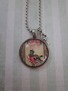 Vintage Bird W/Crown Glass Pendant Necklace by CharmedDesignsByJC, $19.95 Purchase at http://www.etsy.com/shop/CharmedDesignsByJC?ref=si_shop