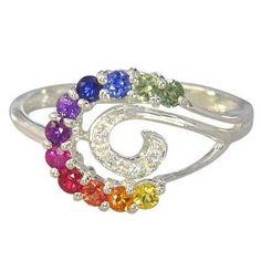Multicolor Rainbow Sapphire & Diamond Swirl Ring 925 Sterling SIlver : sku 1437-925. $119.00, via Etsy.