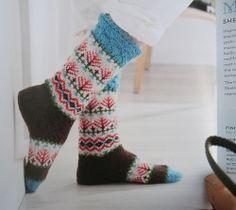 Fair isle socks from Northern knits gifts by Lucinda Guy ☆ Crochet Socks, Knit Socks, Knit Mittens, Knitting Socks, Hand Knitting, Knit Crochet, Knitting Patterns, Crochet Patterns, Cosy Socks