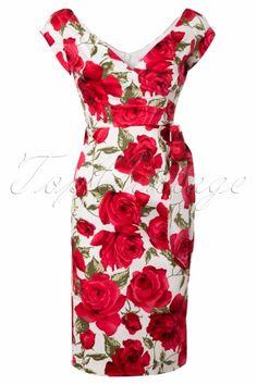 The Pretty Dress Company - Hourglass Sorento White Floral Vintage Pencil dress