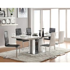 Dining Table w/ White Top and a High Gloss Black Butterfly Leaf