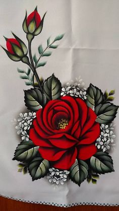 The image may contain: plant and flower - Painting Tole Painting, Fabric Painting, Fabric Paint Shirt, Pinterest Pinturas, Fabric Paint Designs, Hand Painted Fabric, Hand Embroidery Designs, Flower Embroidery, Flower Wallpaper