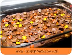 Reese Cheesecake Brownies with Penaut Butter Cups & Reese Pieces
