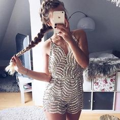 Sexy Deep V-Neck Backless Sequined Romper Jumpsuit