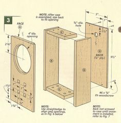 wood craft clock | Arts and Crafts Mantle Clock - exploded view 1 Dimensioned drawing #1 ...