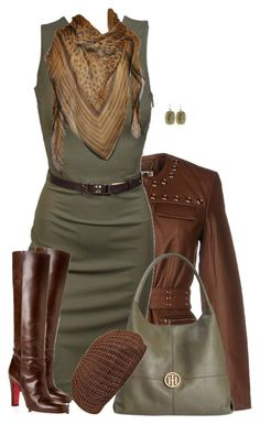 """""""Boots and a Brown Beret"""" by daiscat ❤ liked on Polyvore featuring MICHAEL Michael Kors, Gucci, Christian Louboutin, Roberto Cavalli, Tommy Hilfiger and Alexis Bittar"""