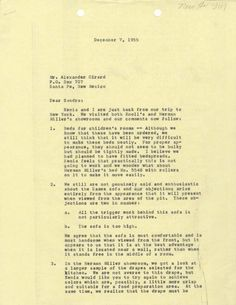 Letter from Irwin Miller to Girard, 1955, 1/2.  After visiting both the Herman Miller and Knoll showrooms, J. Irwin Miller wrote to Alexander Girard to share his and Xenia's thoughts on various items for the new house.