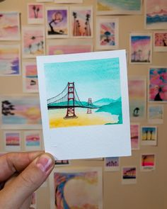 "Robert Talbot on Instagram: ""Paintbrush Polaroids 23.6.19 - 3.5x4.25 - Golden Gate • Paper used: Cold pressed, acid free @artezaofficial Paints: @artezaofficial…"" Cute Canvas Paintings, Oil Pastel Paintings, Small Canvas Art, Mini Canvas Art, Small Paintings, Pastel Art, Mini Drawings, Art Drawings, Watercolor Illustration"