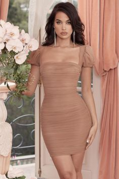 Adyce 2019 New Arrive Summer Women Celebrity Evening Party Dresses Vestidos Sexy Khaki Short Sleeve Strapless Bodycon Club Dress Nude Dress Outfits, Nude Party Dresses, Women's Fashion Dresses, Dress Party, Casual Homecoming Dresses, Wedding Dresses For Kids, Tight Dresses, Short Dresses, Dresses With Sleeves