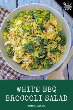 Broccoli Salad w/ White BBQ Sauce - Grilling Broccoli Salad, Barbecue Recipes, Grilling Recipes, Top Recipes, Side Dish Recipes, Best Dishes, Side Dishes, White Bbq Sauce, Cooking