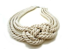 Cream Ivory Nautical Statement Rope Necklace by ChichiKnots, $28.00