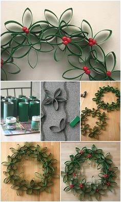Tutorial: Toilet Paper Roll Christmas Wreath Translated from Dutch to English.