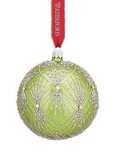 Waterford Holiday Heirlooms  Nostalgic Bright Green Tinsel Ball Ornament New Waterford Waterford Ornaments