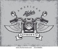 Vintage motorcycle print with motorcycle, wings and ribbon on grange background. - stock vector