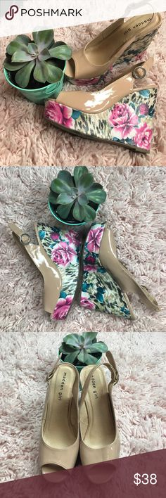"""Madden girl floral print wedges Lovely floral platform wedge. Shiny nude sling back peep toe upper. Round silver buckle. 5.5"""" heel. Like new condition Madden Girl Shoes Wedges"""