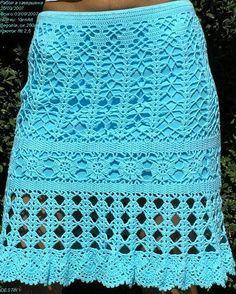 Blue Crochet Skirt - Free Crochet Diagram - (jane-crochet)
