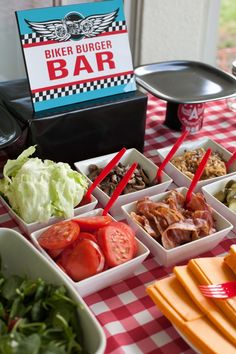 """A """"Biker Burger Bar"""" - great idea to feed a crowd for a motorcycle birthday party! #motorcycle"""