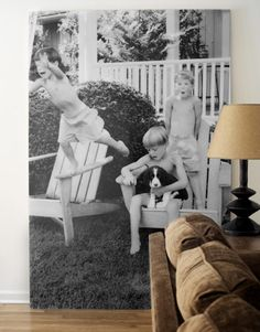 give a small moment big time attention (canvasart.com can enlarge and print any image at least 300 dpi onto stretched canvas; price for 40 x 60 inch $299.95)