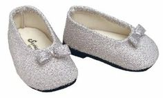 Silver Glitter Doll Dress Shoes fits American Girl 18 Inch Dolls by Sophia's. $6.50. Silver Cello Shred Threaded Shoe with Silver Satin Bow.. Pretty Silver Glitter Ballet Flats. Sized for 18 inch dolls, like the American Girl. Who does not love glitter?! Your 18 inch doll will be thrilled to pair these fab silver glitter shoes with any outfit she may already own!