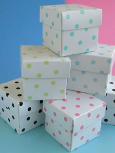 "Give your guests favors in these adorable 2"" polka dot favor boxes - they will be so charmed by the adorable boxes that they may keep them and use them decorations for years to come.  You can fill of these favor boxes with your favorite candy, treat, or favor.  These are high quality boxes, imported from Europe.Sold in sets of 10 favor boxes (with lids), there is a minimum order of 3 sets (for a total of 30 boxes.)"