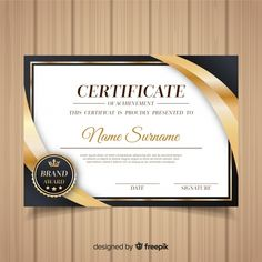 Decorative diploma template with golden ... | Free Vector #Freepik #freevector #gold #certificate #template #diploma Certificate Layout, Birthday Certificate, Certificate Of Completion Template, Certificate Background, Certificate Of Achievement Template, Certificate Design Template, Certificate Frames, Memphis, Award Template