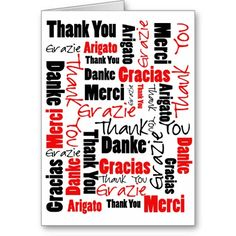 Black and Red Thank You Word Cloud Cards by TheAspenStand