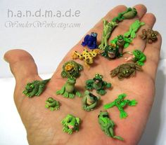1 One Tiny Mini Frog - Choose One Realistic Fun or Micro OOAK Hand Sculpted Dollhouse Scale Froggie Creature