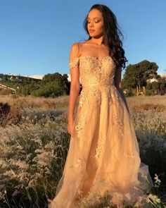 Off Shoulder Champagne Tulle Prom Evening Dress with Appliques Evening Dresses, Prom Dresses, Formal Dresses, Wedding Dresses, Golden Dress, Prom Photos, Fashion Videos, Appliques, Strapless Dress Formal