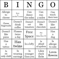 Find someone who . . . Bingo - a good getting to know you game :) (Party Planning)
