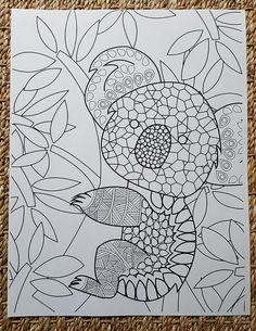 adult coloring page abstract koala bear