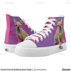 Purple French Bulldog Heart high top tennis shoes   #frenchies #ffrench #bulldog #dog #animal #zipzshoes #custom #tennis #shoe #shoes
