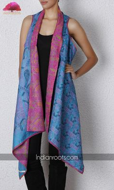 Handwoven silk and cotton saree shrug with kantha stitch by House of Wandering Silk on Indianroots.com