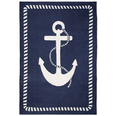 Jonathan Adler Anchor Rug in Peruvian Flat Weave Rugs Jonathan Adler, Nautical Rugs, Nautical Design, Nautical Style, Nautical Anchor, Nautical Sayings, Nautical Clipart, Nautical Interior, Anchor Rope